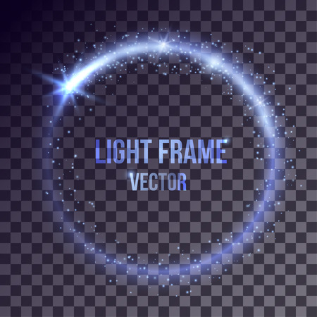 flares: Vector blue light frame on transparent background. Shiny particles and flares on magic ring.