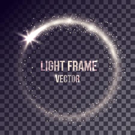 Vector weißes Licht Rahmen auf transparentem Hintergrund. Glänzende Partikel und Fackeln auf magischen Ring. Standard-Bild - 59468344