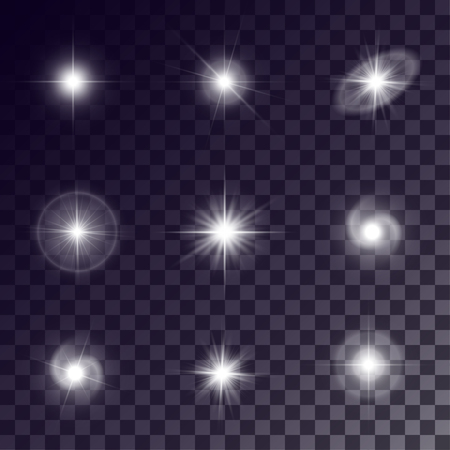 ring flash: Vector starlights effects. White flares on transparent background. Release clipping mask for work.