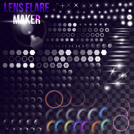 Lens flare maker - big set of lighting elements. Circles, rings, hexagons, rainbow halo, shaceship bursts, simple stars on transparent background. Illustration