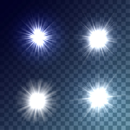 glaring: Simple vector white and bright suns on transparent background. Release clipping mask for work.