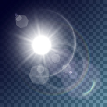 Vector white sun with light effects. Rays, hotspots, rainbow and white halo and flares on transparent like background. Release clipping mask for work.