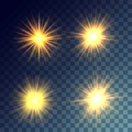 lit collection: Simple vector yellow and bright suns on transparent background. Release clipping mask for work. Illustration