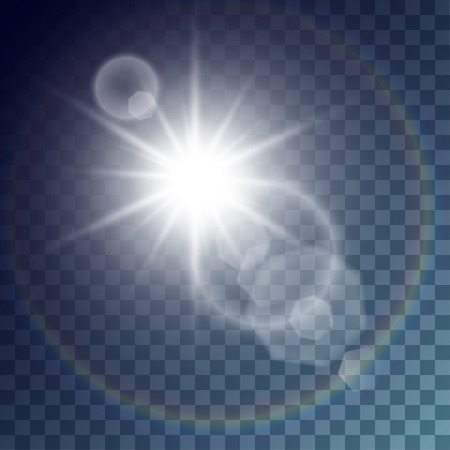 outburst: Vector white sun with light effects. Big rays, hotspots, rainbow halo and flares on transparent like background. Release clipping mask for work.
