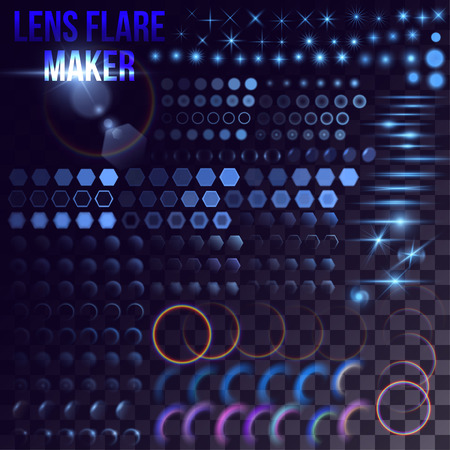 an outburst: Lens flare maker - big set of blue lighting elements. Circles, rings, hexagons, rainbow halo, shaceship bursts, simple stars on transparent background.