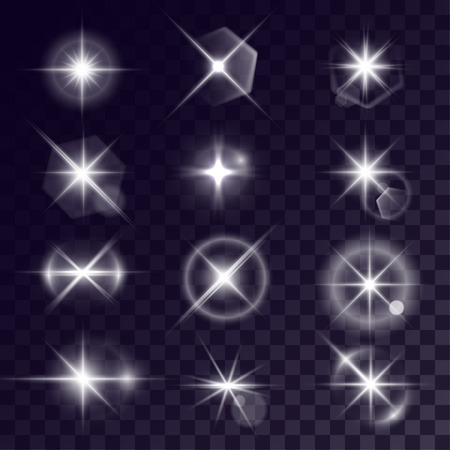 halation: Vector starlights effects. Set of white flares on transparent background. Release clipping mask for work. Illustration