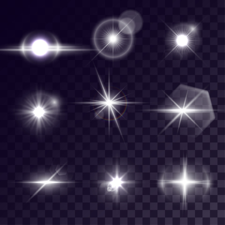 halation: Vector starlights effects. Set of white outbursts on transparent background. Release clipping mask for work.