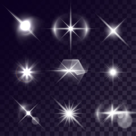 halation: Vector starlights effects. Set of white flashes on transparent background. Release clipping mask for work.