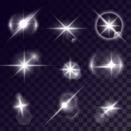 halation: Vector starlights effects. Set of white sparks on transparent background. Release clipping mask for work.