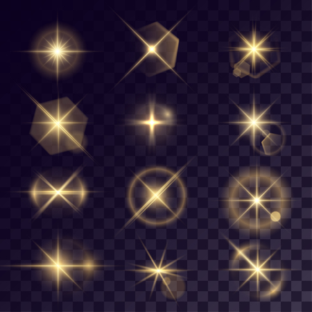 halation: Vector starlights effects. Set of golden flares on transparent background. Release clipping mask for work.