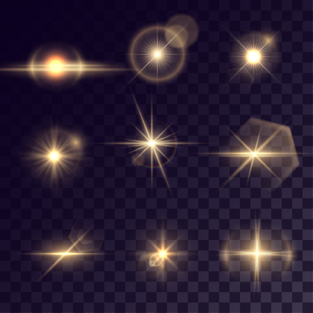halation: Vector starlights effects. Set of golden outbursts on transparent background. Release clipping mask for work.