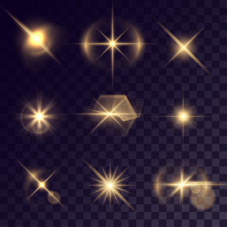 halation: Vector starlights effects. Set of golden flashes on transparent background. Release clipping mask for work. Illustration