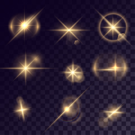 halation: Vector starlights effects. Set of golden sparks on transparent background. Release clipping mask for work.