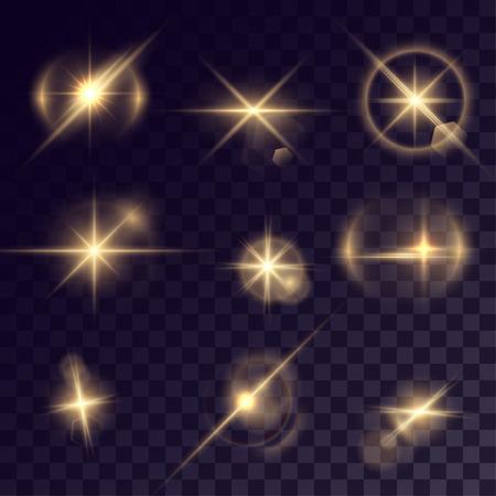 halation: Vector starlights effects. Set of golden sparks on transparent background. Release clipping mask for work.