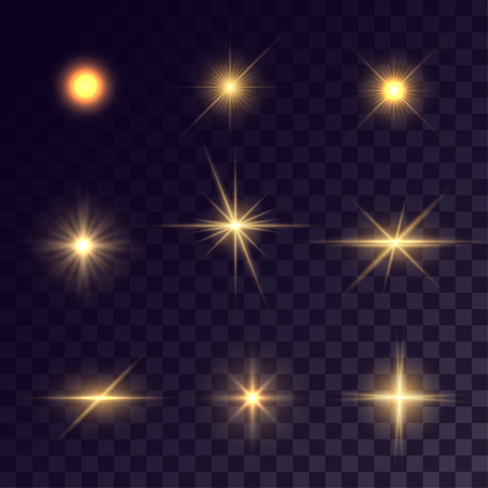 Vector starlights effects. Golden flashes on transparent background. Release clipping mask for work.  イラスト・ベクター素材