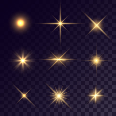 ring flash: Vector starlights effects. Golden flares on transparent background. Release clipping mask for work.