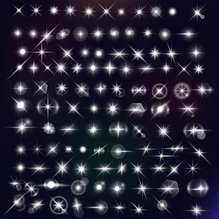 halation: stars mega set. White flares effect on dark background. Release clipping mask for work.
