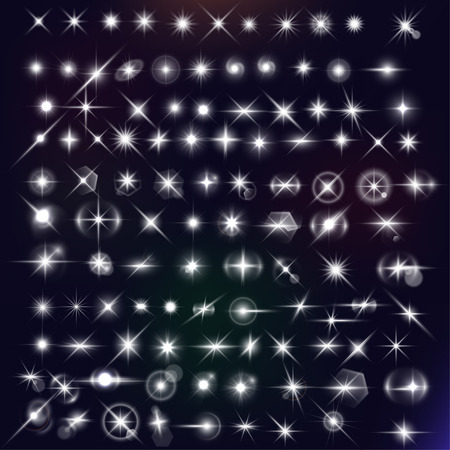 stars mega set. White flares effect on dark background. Release clipping mask for work.