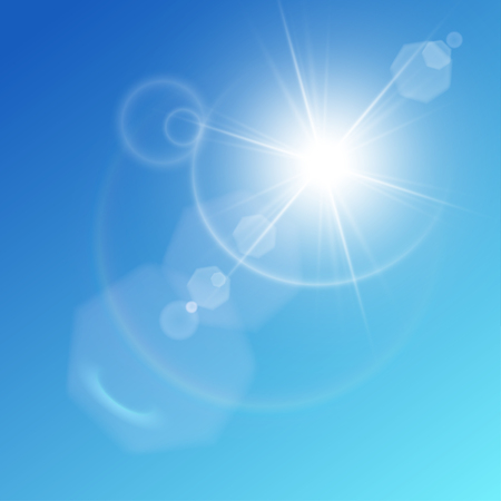 Whtie shining sun on blue sky background. Fancy halo and hexagonal bokeh. Release clipping mask for work.