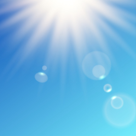 light reflex: sun rays shining from top on blue sky background. Simple round bokeh. Contains clipping mask. Illustration