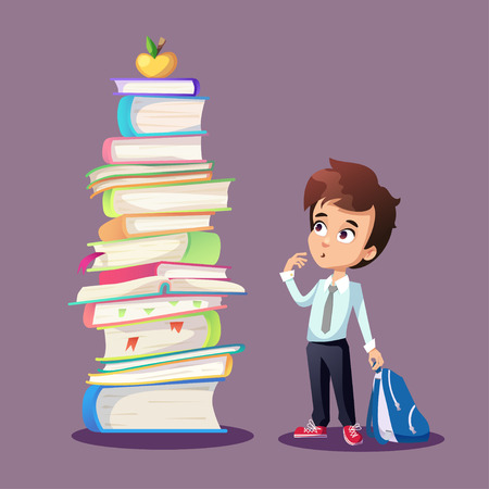 golden apple: Illustration about schoolkid looking at big pile of books and golden apple. Cartoon funny boy holding backpack.