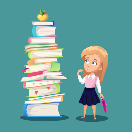 Illustration about schoolkid looking at big pile of books and golden apple. Cartoon funny girl holding backpack. Illustration