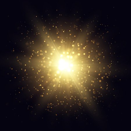 glint: Vector star explosion illustration. Golden flash and sparks on dark background.
