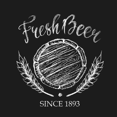 breezy: Fresh beer placard for brewery, pub, restaurant or Oktoberfest. Chalk logo illustration in white color of barrel bottom and wheat ears. Illustration