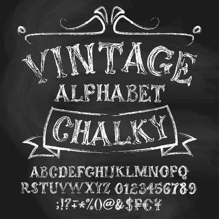 alphabetical: Chalk roman alphabetical set. Vintage uppercase letters, numbers, special signs and money symbols.