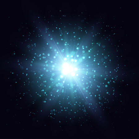 outbreak: Vector star explosion illustration. Blue flash and sparks on dark background.Abstract magic object.