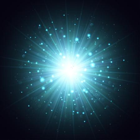 underwater light: Vector explosion illustration. Blue rays and sparkles on dark background. Underwater light from submarine. Illustration