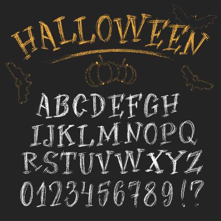 roman alphabet: Halloween chalk roman alphabet. White hand-drawn letters set on dark background. Funny decorations of bats and pumpkin.