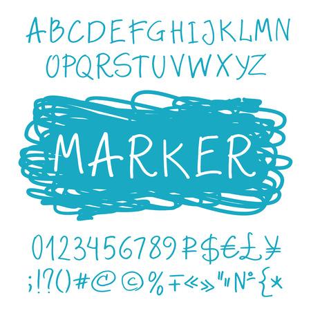 Funny Roman Alphabet Handwritten Marker Set Of Uppercase Letters