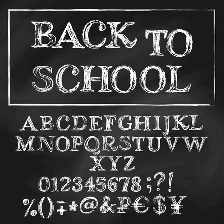 키릴 벡터 알파벳 분필. 영어 제목은 다시 학교입니다. 화이트 대문자, 숫자, 특수 기호와 돈 표지판. 배경에 질감 칠판.