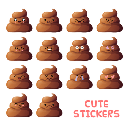 shit: Set of cute poop pieces icons. emoji isolated on white background.