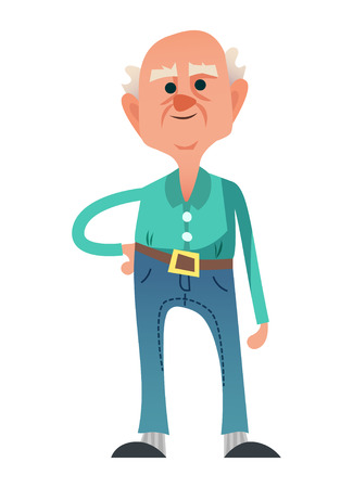 Cute old man in jeans and turquoise shirt. Cool senior citizen standing with hand side in. Isolated on white background.