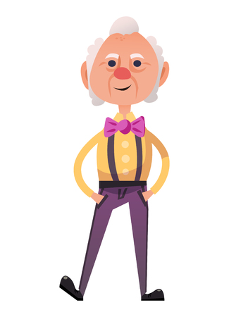 suspenders: Fancy old man in stylish costume with pink bow. Isolated on white background.