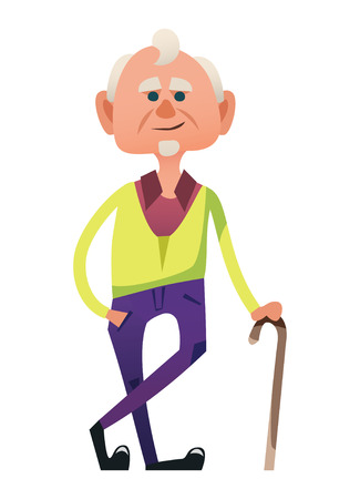 Cute old man in sytlish purple trousers. Fancy senior standing with cane. Isolated on white background.