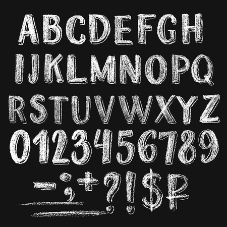 Sans serif chalk roman alphabet with only caps letters. Numbers, several signs and money symbols. Textured white characters on dark background.