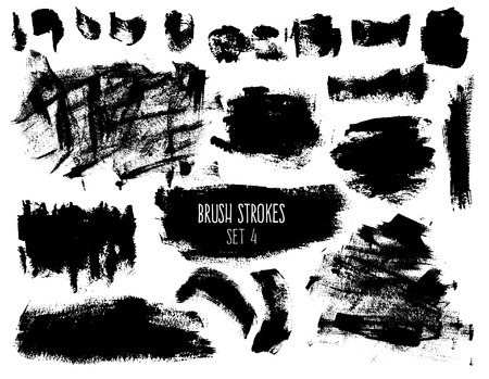 Brush strokes and backgrounds set. Dirty spots and textured elements isolated on white background. Black trendy hatches for banners, buttons and prints.