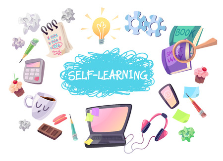 Self learning concept illustration. Laptop, phone headphones coffee, notebok, magnifier, books, bulb gears etc. Isolated cartoon objects on white background. Illustration
