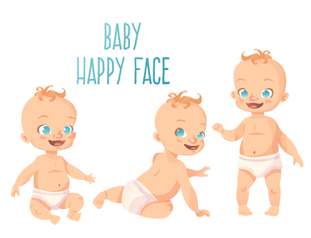 Set of three cute babies with happy smiles. Sitting, crawling and standing poses. Isolated cartoon kids on white background.