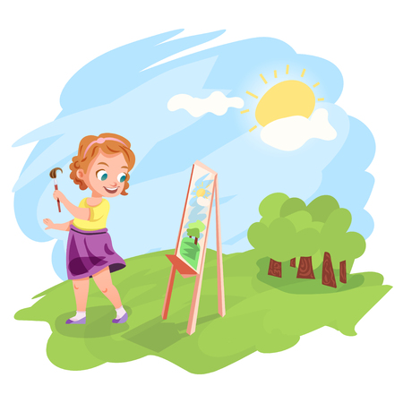 warm weather: Cute little girl painting an image on easel outdoors. Kids hobby cartoon illustration. Warm summer weather outside.