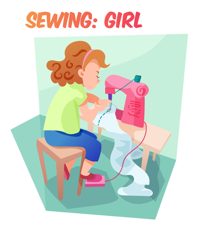 engrossed: Little girl sewing something at machine. Children hobby illustration. Flat cartoon style about little needlewoman. Illustration