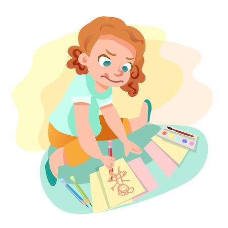 Cute little girl drawingan image on paper sitting on the floor. Kids hobby cartoon illustration. Ilustração