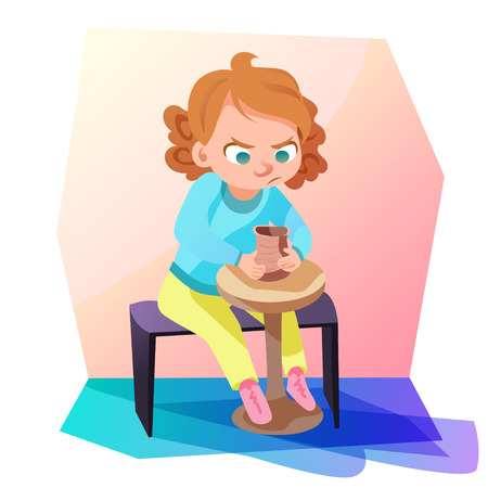 Cute little girl sitting and modeling a jug out of clay. Kids hobby cartoon illustration.
