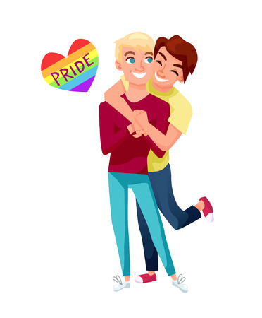 lighthearted: Male gays couple having fun and being happy. Lgbt concept vector illustration. The word pride in rainbow colored heart.