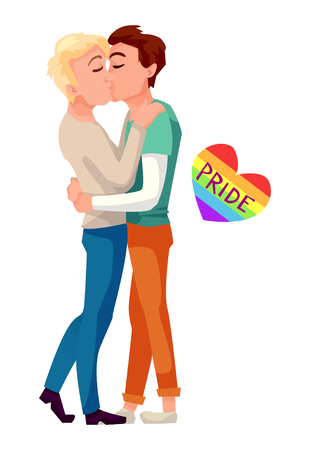 Male gays couple kissing and hugging. Lgbt concept vector illustration. The word pride in rainbow colored heart.