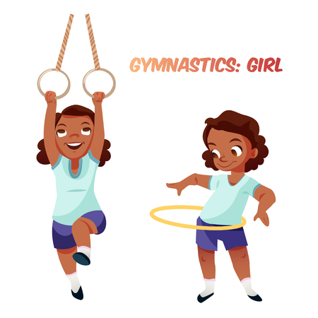 Little african american kid girl doing exercises in gymnastics with rings and hoop. Isolated female child in funny cartoon style. Children sport illustration. Illustration