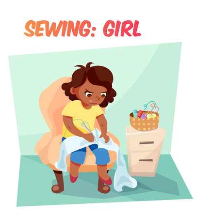 diligence: Little african american girl sewing something in armchair. Children hobby illustration. Flat cartoon style about kids.